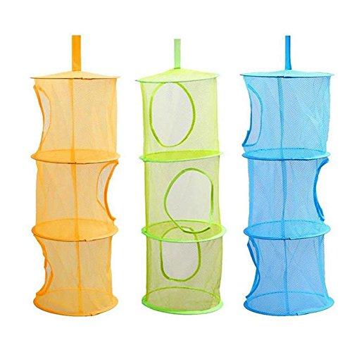Fablcrew Lot de 3 filets de rangement pliables à suspendre pour salle de bain et balcon, couleur aléatoire