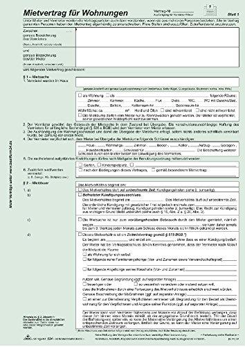 Universal-Mietvertrag für Wohnungen - SD, mit Übergabeprotokoll, 4 x 2 Blatt, DIN A4, 1 Packung à 3 Stück