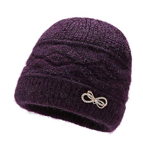 WANGIRL Sombrero de Lana Mujer Invierno al Aire Libre más Terciopelo Grueso Sombrero cálido Bowknot Sombrero de Punto Madre de Mediana Edad Sombrero de Madre LOLDF1 (Color : Purple)