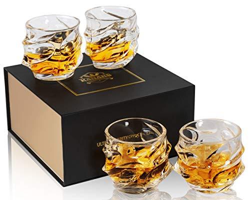 KANARS 4-teiliges Whisky Gläser Set, Bleifrei Kristall Whiskygläser, Spülmaschinentauglicher Whiskybecher, Hochwertige Qualität, 320ml, Luxuriös Geschenk