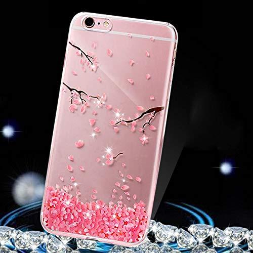 Uposao Kompatibel mit iPhone 6S Plus 5.5 Handyhülle Rosa Kirsche Blumen Hülle Glänzend Glitzer Kristall Strass Diamant Handytasche Transparent Silikon Case Dünn Crystal Clear Durchsichtige Hülle