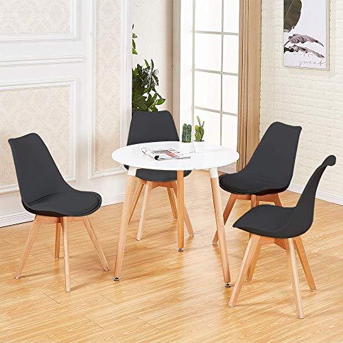 DORAFAIR Set aus Runder Esstisch und 4 Skandinavischen Stühlen, für Küche Esszimmer Büro, Schwarz Stuhl