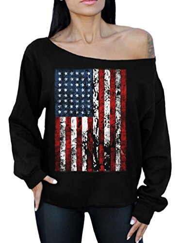 Awkward Styles American Flag Distressed 4th July Off The Shoulder Oversized Sweater Sweatshirt M Black