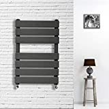 <span class='highlight'><span class='highlight'>Yiyai</span></span> 650 x 500 Anthracite Flat Panel Heated Towel Radiator 450mm Pipe Centre - Modern Heated Towel Rail Wall Mounted Radiator Water Filled Space Saving Radiators