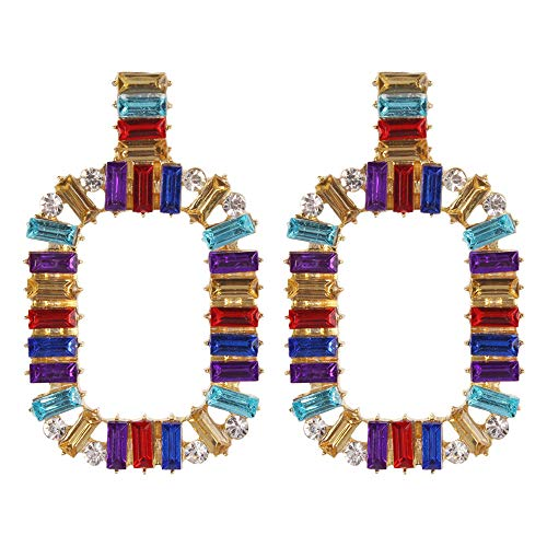 YAZILIND Legierung Ohrringe Nachahmung Bohrer Rechteckigen Anhänger Mehrfarben Ohrringe Schmuck Erklärung Ohrringe Für Mädchen Damen