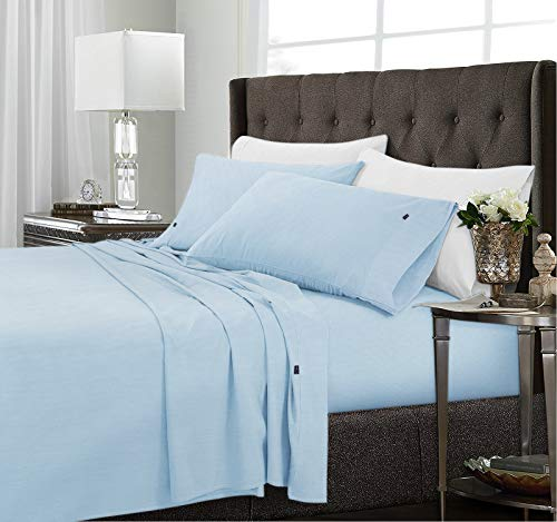 Cooling Bamboo Microfiber Sheet Set----Ultra Breathable & Soft 4-Piece Bedding Set, Lightweight Comfortable Sheets for Summer, Deep Pocket Smooth Collections, Wrinkle Free (Light Blue Queen)
