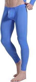Men's Ice Silk Bulge Pouch Underwear Bottoms Low Rise Leggings Pants Long Trousers