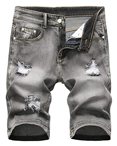 Men's Denim Shorts Classic Fit Summer Fashion Ripped Distressed Jeans Short with Broken Hole, 303-Grey, US 40 /Tag 40