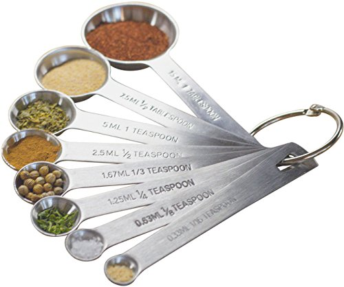 MEKBOK Set of 8 Stainless Steel Measuring Spoons - With 1/8, 1/3 and 1/16 Teaspoon, 1/2 Tablespoon - Metric and US Measurements - The Complete...