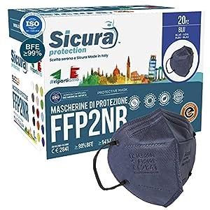 20 Mascherine FFP2 Certificate CE BLU con Elastici Neri SICURA logo impresso BFE ≥99% Made in Italy Mascherina ffp2 SANIFICATA e sigillata singolarmente Pluri certificata ISO 13485 e ISO 9001