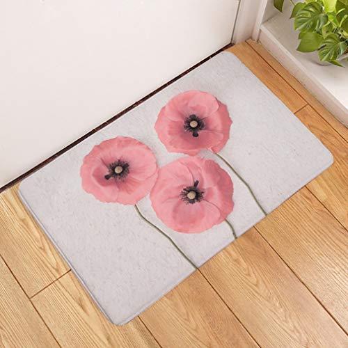 Deurmat, 3D-minimalistisch roze bloempot, bedrukt antislip, deurmat, welkom, slaapkamer, hal, rechthoekig, zachte deurmat voor huis, woonkamer, keuken 40×60cm roze