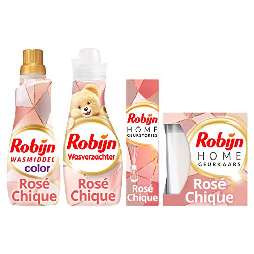 Robijn Rosé Chique Was & Geurpakket - Wasmiddel, Wasverzachter, Geurstokjes en Geurkaars