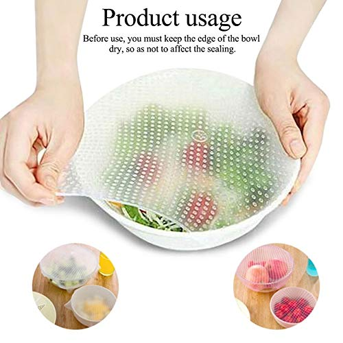 Best Quality - Cookware Lids - reusable silicone food fresh keeping stretch wrap seal film bowl cover home storage and organization kitchen tools 3 sizes - by Rocco - 1 PCs