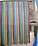 colorful stripe pattern shower curtain