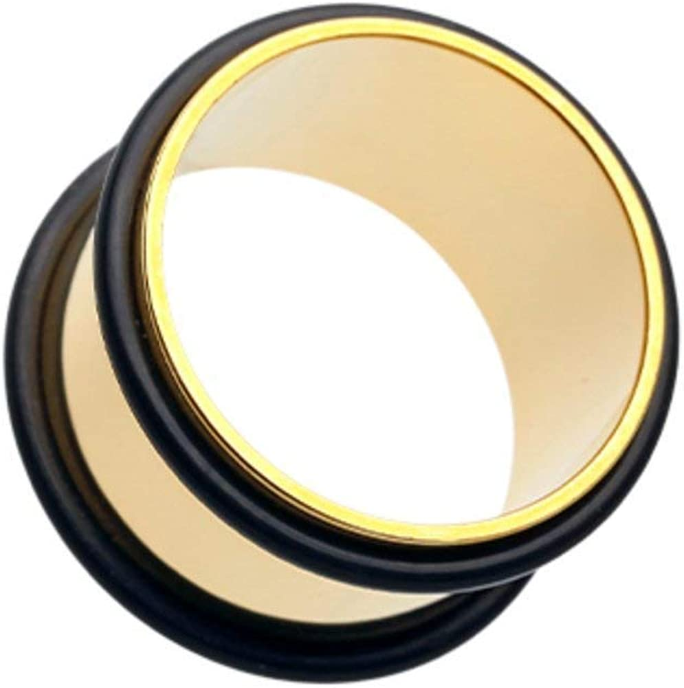 Covet Jewelry Gold Plated No Flare Ear Gauge Tunnel Plug