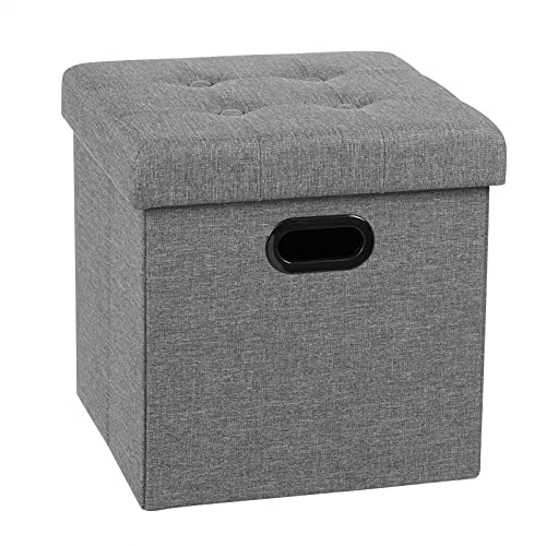 WOLTU Sitzhocker Sitzwürfel Fußhocker mit Stauraum Aufbewahrungsbox Truhen faltbar, Deckel abnehmbar, mit Griffe, Gepolsterte Sitzfläche aus Leinen, 37,5x37,5x38CM, Hellgrau, SH71hgr