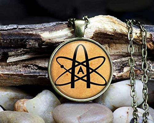 Bloody devil Art Picture Necklace,Atheist Symbol Necklace Atom Pendant Antique Jewelry,Gift of Love