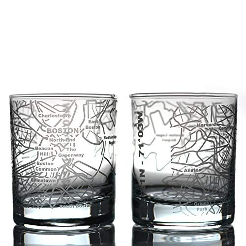 Greenline Goods Whiskey Glasses - 10 Oz Tumbler Gift Set for Boston lovers, Etched with Boston Map   Old Fashioned Rocks Glass - Set of 2