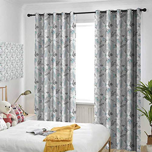 LanQiao Window Blackout Curtains,Hand Drawn Style Poinsettia Flowers Romantic Vintage Botanical Nature,Suitable for Any Room Scene W84 xL84