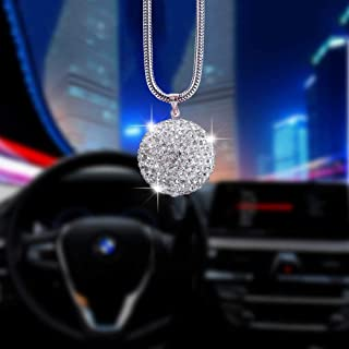 Alotex White Ball Bling Car Accessories for Women & Men Bling Car Decorations for Rearview Mirror Cute Crystal Hanging Bling Car Accessories Rhinestone Interior Mirror Accessories(White Ball)