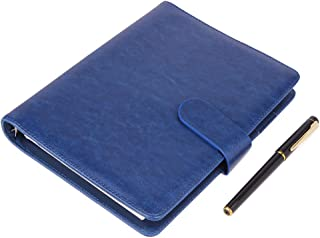 A5 Leather Notebook - Refillable Loose Leaf Business Notebook/Notepad, Meeting Notebook, Ruled/Classic Lined with Pocket&Pen Holder, 100 Sheets of 100gsm Paper (Blue-A5)