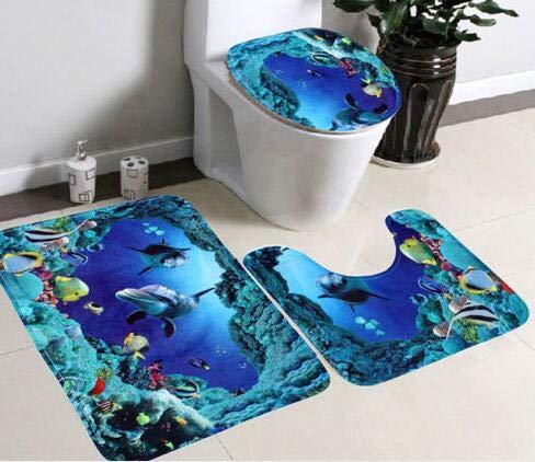 Borlai 3 Piece Bath Mat Set, Dolphin Non Slip Durable Toilet Mat Seat Cover Bath Rug for Floor Tub Shower Bathroom