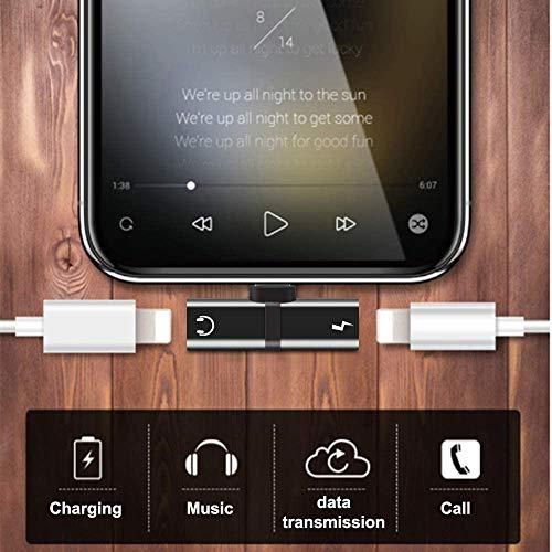 Echden Phone Kopfhörer Adapter 4in1 Dual Adapter Ladekabel und Kopfhörer Anschluss Konverter Kopfhörer Audioanschluss Splitter Ladegeröt kompatibel mit Phone XS/XR/X/8/8 Plus-schwarz