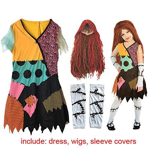 CHANGL Kinder Erwachsene Frauen Der Alptraum vor Weihnachten Kinder Sally Kostüm Kleid Weihnachtsfeier Kostüm für Kinder