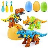 Dinosaurios Juguetes con Taladro - Huevos de Dinosaurio Puzzle Juegos de Construccion Regalos para Niños 3 4 5 6 7 Años Tiranosaurio Rex Velociraptor y Triceratops