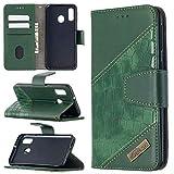 Miagon Samsung Galaxy A20e Custodia Portafoglio Cover,Antiurto Coccodrillo Splicing PU Pelle con Chiusura Magnetica Tasca per Carte di Credito Funzione Cavalletto,Verde