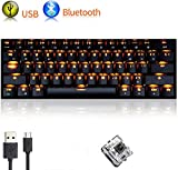 Urchoiceltd tastiera meccanica RK61 Wired/wireless Bluetooth tastiera 61 tasti LED USB Quickfire anti-ghosting impermeabile Gaming tastiera con tasti e chiave Cap Puller batteria al litio ricaricabile