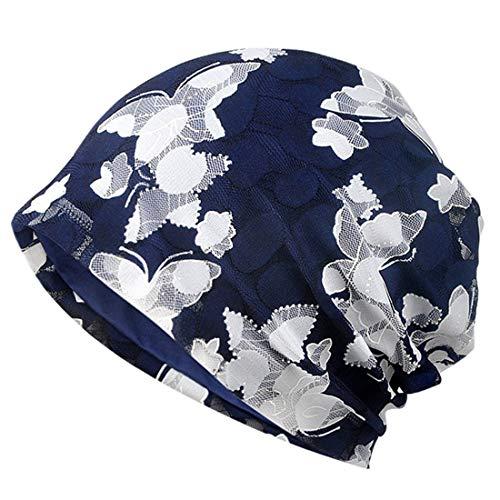 YONKINY Gorro Quimioterapia Para Mujer Verano Sombrero Algodón Transpirable Turbante Gorro Flor Impresión Gorra De Noche Hip-Hop Slouch Beanie Hat Para Al Aire Libre Running (Azul Real#2)