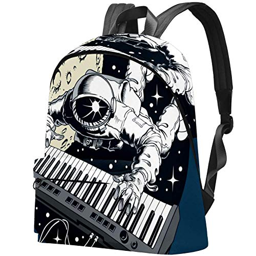 Libreria universitaria per studenti, adatta per notebook da 15,6 pollici, zaino da viaggio all'aperto, borsa per scuola, astronauta suonare pianoforte sintetizzatore nello spazio