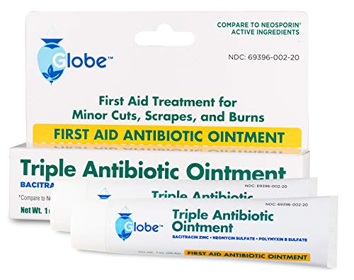 Globe Triple Antibiotic First Aid Ointment, 1 oz (2-Pack) First Aid Antibiotic Ointment, 24-Hour Infection Protection, Wound Care Treatment for Minor Scrapes, Burns and Cuts