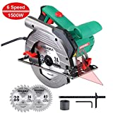 Circular Saw, 1500W HYCHIKA Electric Saw with 6 Adjustable Speeds...