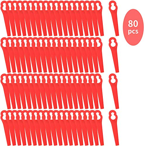 Colmanda Rasenmäherklinge Kunststoff, 80 Stück Kunststoff Ersatzmesser Rasenmäherklinge Ersetzen Gras Kunststoffmesser für Akku-Rasentrimmer ART 23-18Li Art 26-18Li - Rot