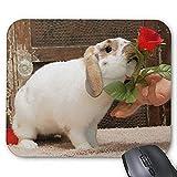Yanteng Alfombrilla de ráton del Juego mousemat Conejo Precioso Mousepad La Serie A Rose es una Rosa Alfombrilla De Raton Conejo de Conejito Alfombrilla de ratón Rectángulo Alfombrillas De Raton