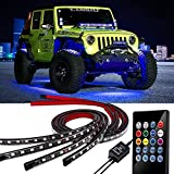 OONOL Car Underglow Neon Accent Strip Light Kit 8 Color Atmosphere Decoration Musical Sync Light Tube 4PCS Car Underbody Sound Activated Wireless Remote Control (60-90cm)