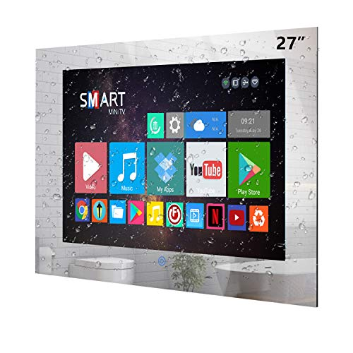 Haocrown 27 inch Bathroom Mirror TV with IP66 Waterproof LED Smart Television 1080P Built-in Android 10.0 System Satellite Tuner Wi-Fi Bluetooth HDMI USB (27