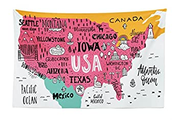 Lunarable USA Map Tapestry American Cities Calligraphy on Plan Arizona New York Chicago Cartoon Fabric Wall Hanging Decor for Bedroom Living Room Dorm 45  X 30  Marigold White