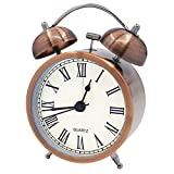 Coolzon® Twin Bell Loud Alarm Clock Battery Operated Analogue, Retro Silent Alarm Clocks