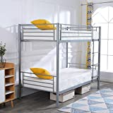 FCH Twin Over Twin Bunk Bed Easy Assembly Metal Frame W/ Ladder Kids Adult Children Bedroom 78' W x 42' D x 65' H (Gray)