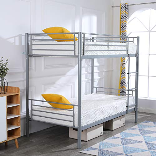 """FCH Dual Ladder Twin Over Twin Bunk Bed Easy Assembly Metal Frame W/Ladder Kids Adult Children Bedroom 78"""" W x 42"""" D x 65"""" H (Gray)"""