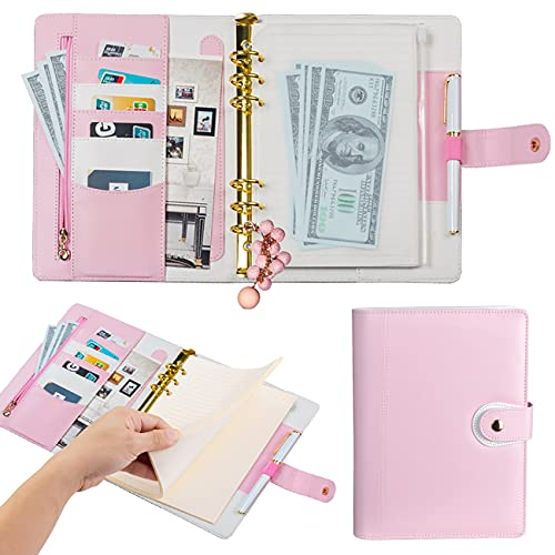 Harphia A5 Planner Binder Refillable Personal Organizer with Accessories, 6 Ring Planner Binder Softcover Calendar Light Pink Refills Accessories Included(A5 9.25 x 7.08'')
