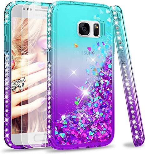 LeYi Hülle Galaxy S7 Glitzer Handyhülle mit Panzerglas Schutzfolie(2 Stück),Cover Diamond Rhinestone Bumper Schutzhülle für Hülle Samsung Galaxy S7 Handy Hüllen ZX Gradient Turquoise Purple