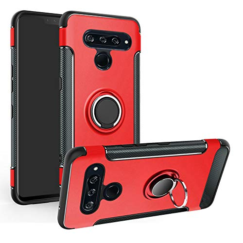 Labanema LG V50 ThinQ 5G Funda, 360 Rotating Ring Grip Stand Holder Capa TPU + PC Shockproof Anti-rasguños teléfono Caso protección Cáscara Cover para LG V50 ThinQ 5G - Rojo