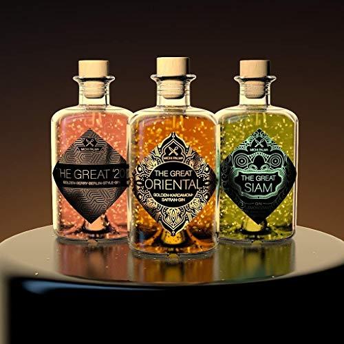 The Great Trio Geschenkbox Gin (3 x 0.5 l) - feinste Gins mit 23 Karat reinem Blattgold - Verpackt in einer hochwertigen schwarzen Magnetbox - Ideal zum Verschenken!
