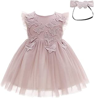Baby Girls Dress Infant Birthday Christening Wedding Party Lace Tulle Tutu Dresses Outfit with Headband