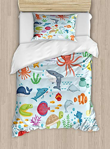 ABAKUHAUS Marina Funda Nórdica, Animales De Mar Submarino, 1 Funda para Almohada Set Decorativo de 2 Piezas, 264 x 220 cm, Multicolor