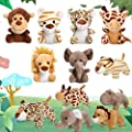 12 Pieces Mini Stuffed Forest Animals Jungle Animal Plush Toys in 4.8 Inch Cute Plush Elephant Lion Giraffe Tiger Plush for Animal Themed Parties Teacher Student Achievement Award (Sitting, Lying) by Sumind